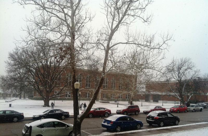 By late morning on Feb. 27, the A&M-Commerce campus was under a blanket of snow.