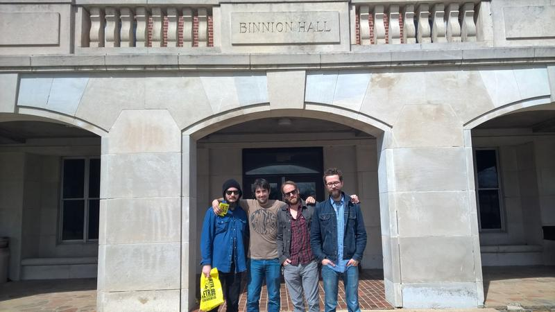 (Left to right) Corey Howe, Vince Tuley, Ed Chaney and Evan Johnson of Dallas band Dead Flowers at A&M-Commerce's historic Binnion Hall
