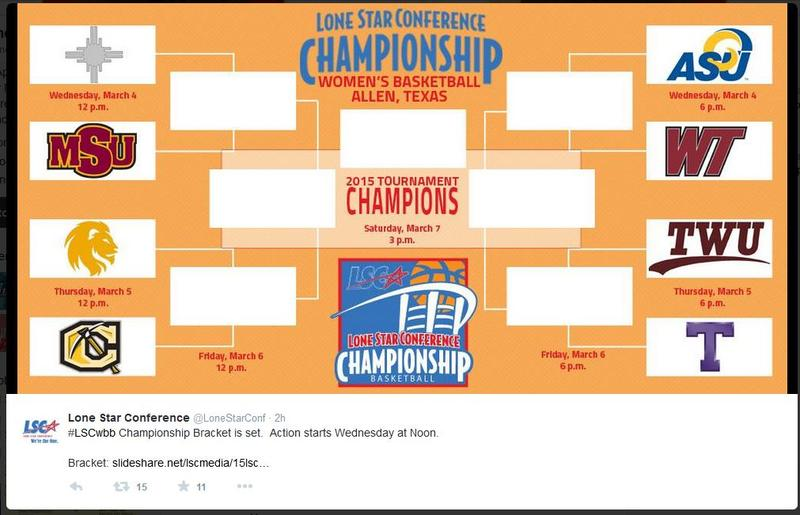 Lone Star Conference women's basketball championship bracket for 2015