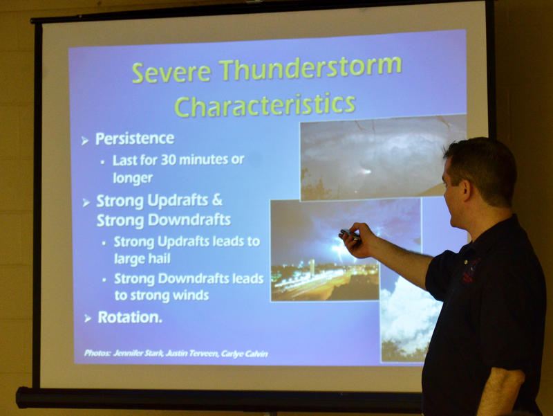 Denis Cavenaugh of the National Weather Service at a recent storm spotter class in Delta County.