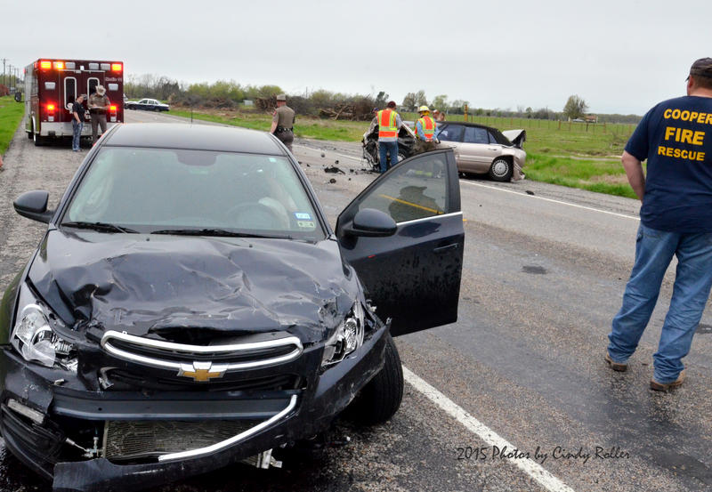 First responders evaluate a 3-car accident on State Highway 24 South.