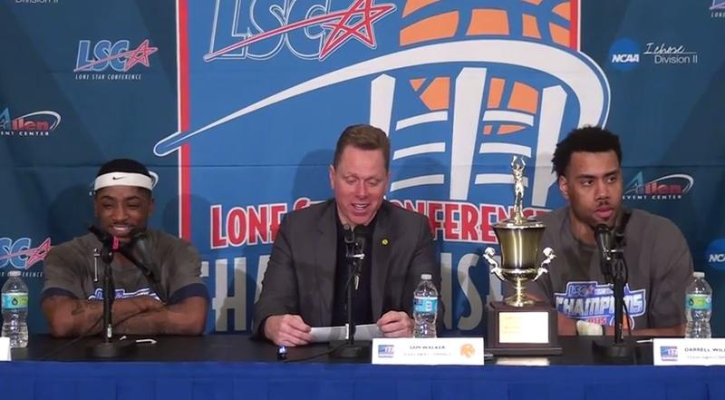 Anthony Adams, head coach Sam Walker and tournament MVP Darrell Williams discuss the Lions' 68-61 victory over Angelo State in the LSC Men's Basketball championship game.