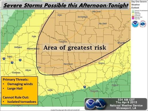 The highest risk for severe weather on April 9 lies east of Paris and Sulphur Springs.
