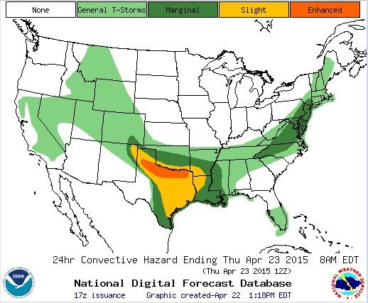Severe weather is possible across an area stretching from the Texas Panhandle to Northeast Texas.