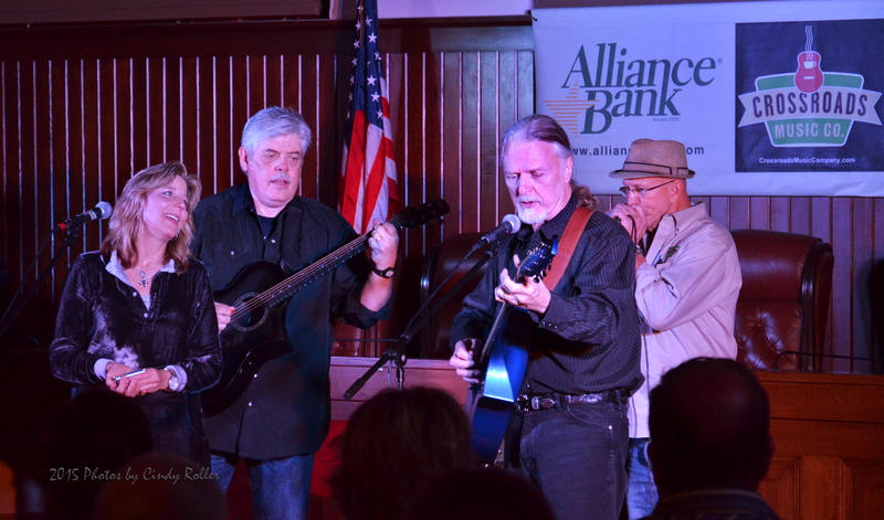 Terri Hendrix, Lloyd Maines, Lindy Hearne and Crossroads Music Company organizer Gus Gustafson give the final performance of the night at the Chamber Listening Room at Sulphur Springs City Hall on Saturday night to an audience full of listeners.