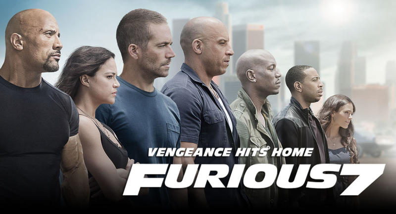 Furious 7 stars Paul Walker and Vin Diesel in the latest installment of The Fast & Furious franchise.