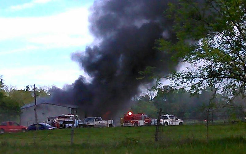 Three departments responded to a house fire on State Highway 24 in Klondike.