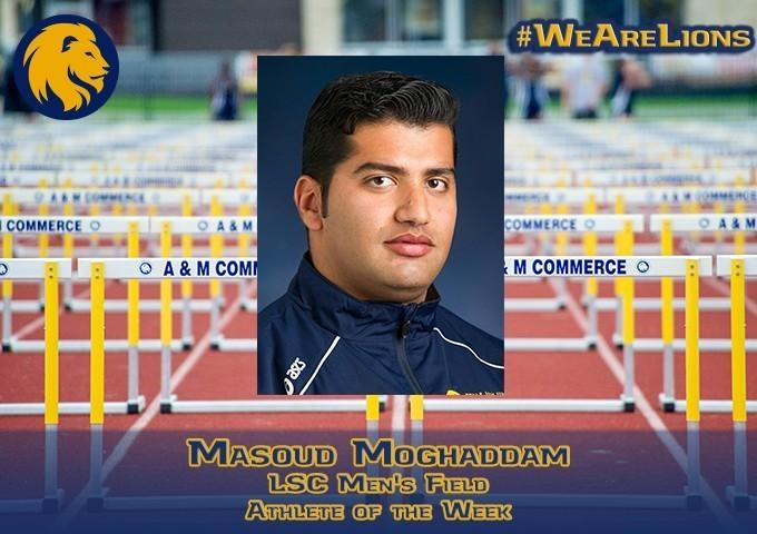 The second time this outdoor season, senior Masoud Moghaddam has been named the LSC Field Athlete of the Week.
