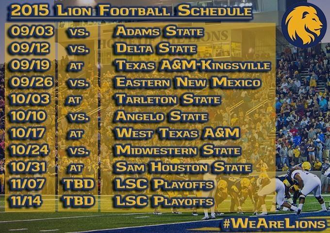 2015 Texas A&M University-Commerce Football Schedule