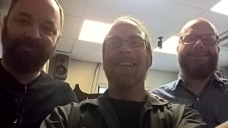(L to R) Dove Hunter singer and guitarist Jayson Wortham, Matt Meinke from Notably Texan, and bassist Chad DeAtley pause for a selfie in the KETR Studios.