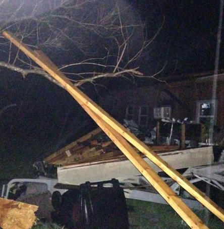 Porch on this mobile home near Pecan Gap was destroyed by winds.
