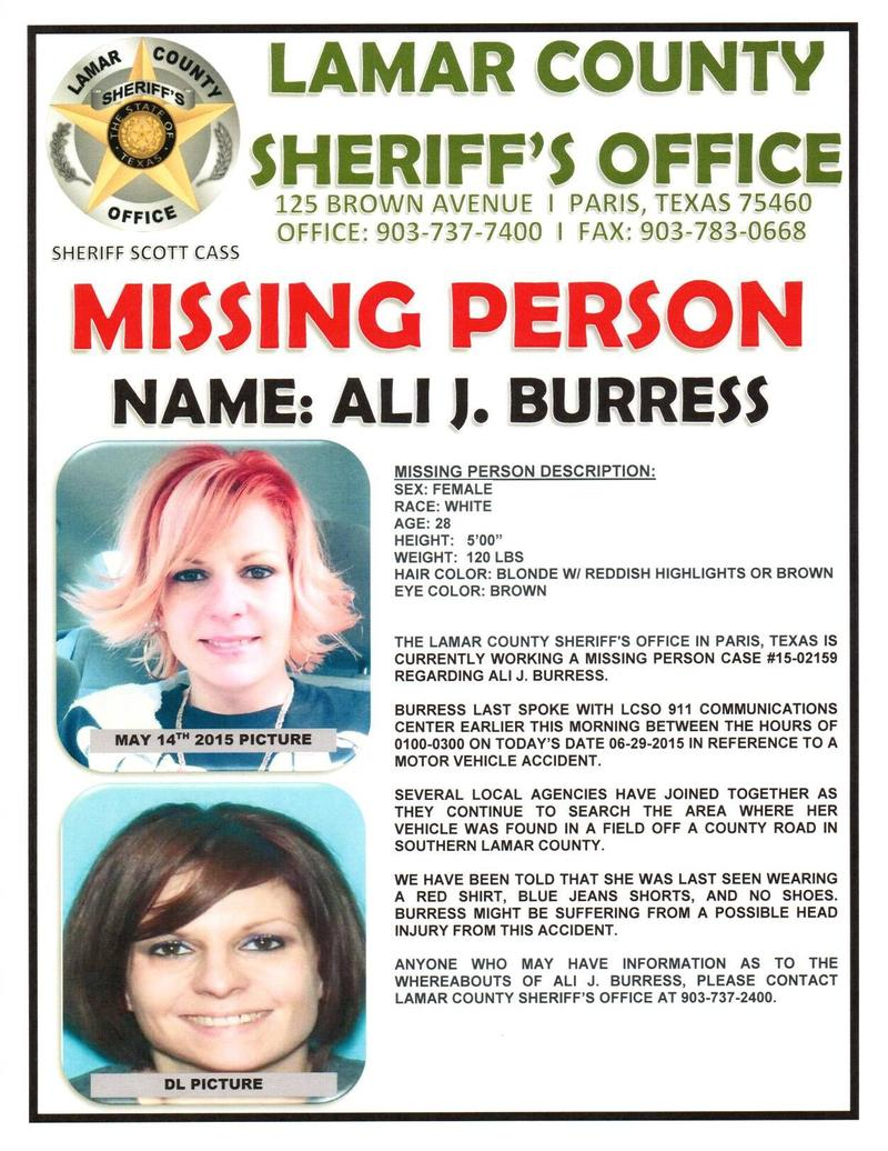 Ali J. Burress remains missing after car crash in remote area of Lamar County.
