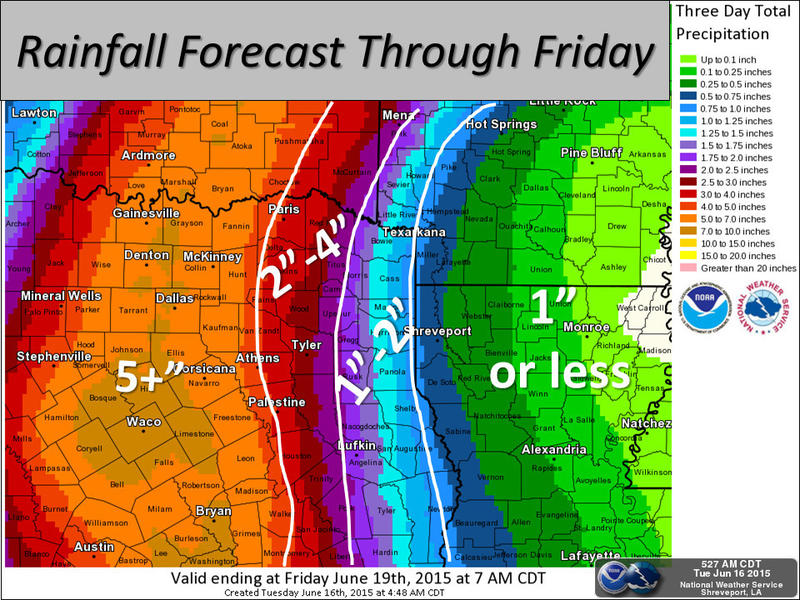 "Most of Northeast Texas is forecast to get about 4"" of rain through Friday, with 5""-7"" expected for the Dallas area."