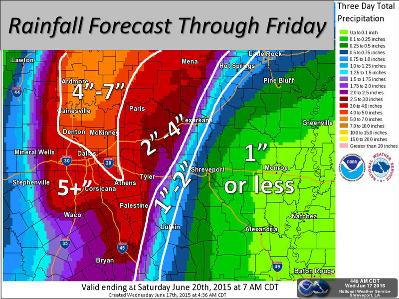 Heavy rainfall is expected along the I-35 corridor in North Texas today.