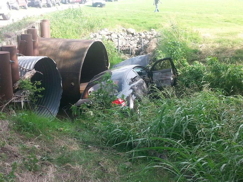 Single car accident sends multiple people to hospital.