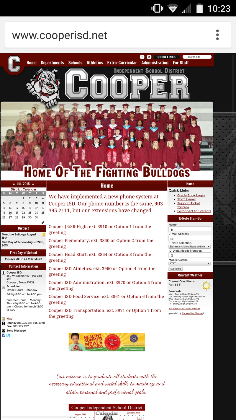 Cooper ISD's new and improved website