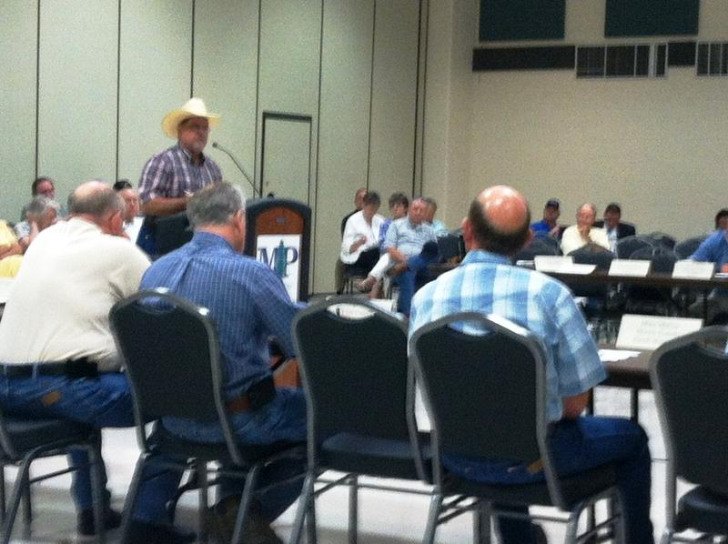 Lindy Guest of Red River County speaks in opposition to the proposed Marvin Nichols Reservoir on July 14 in Mount Pleasant.