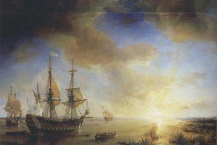 La Salle's Expedition to Louisiana in 1684, painted in 1844 by Jean Antoine Théodore de Gudin. La Belle, left, sank in present-day Matagorda Bay.