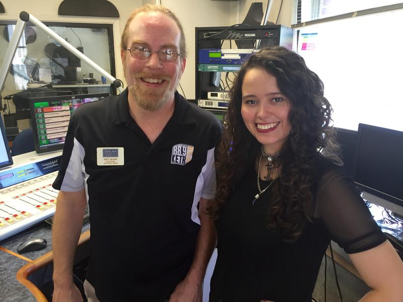 Hannah Kirby and Notably Texan Host Matt Meinke in the KETR Studios.