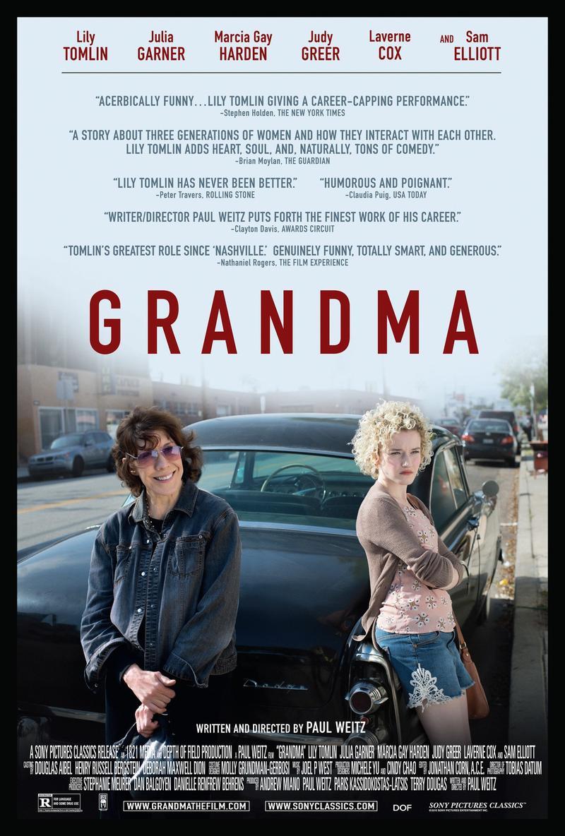 Grandma stars Lily Tomlin and Julia Garner.