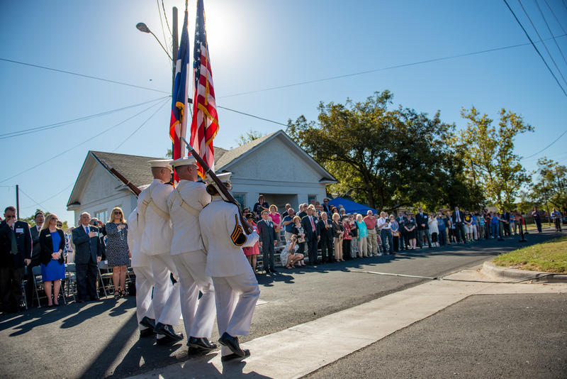 A color guard from Texas A&M University's Corps of Cadets participated in the ceremony.
