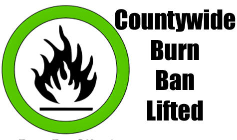 Lamar, Delta, Hopkins and Rains are no longer under a burn ban.