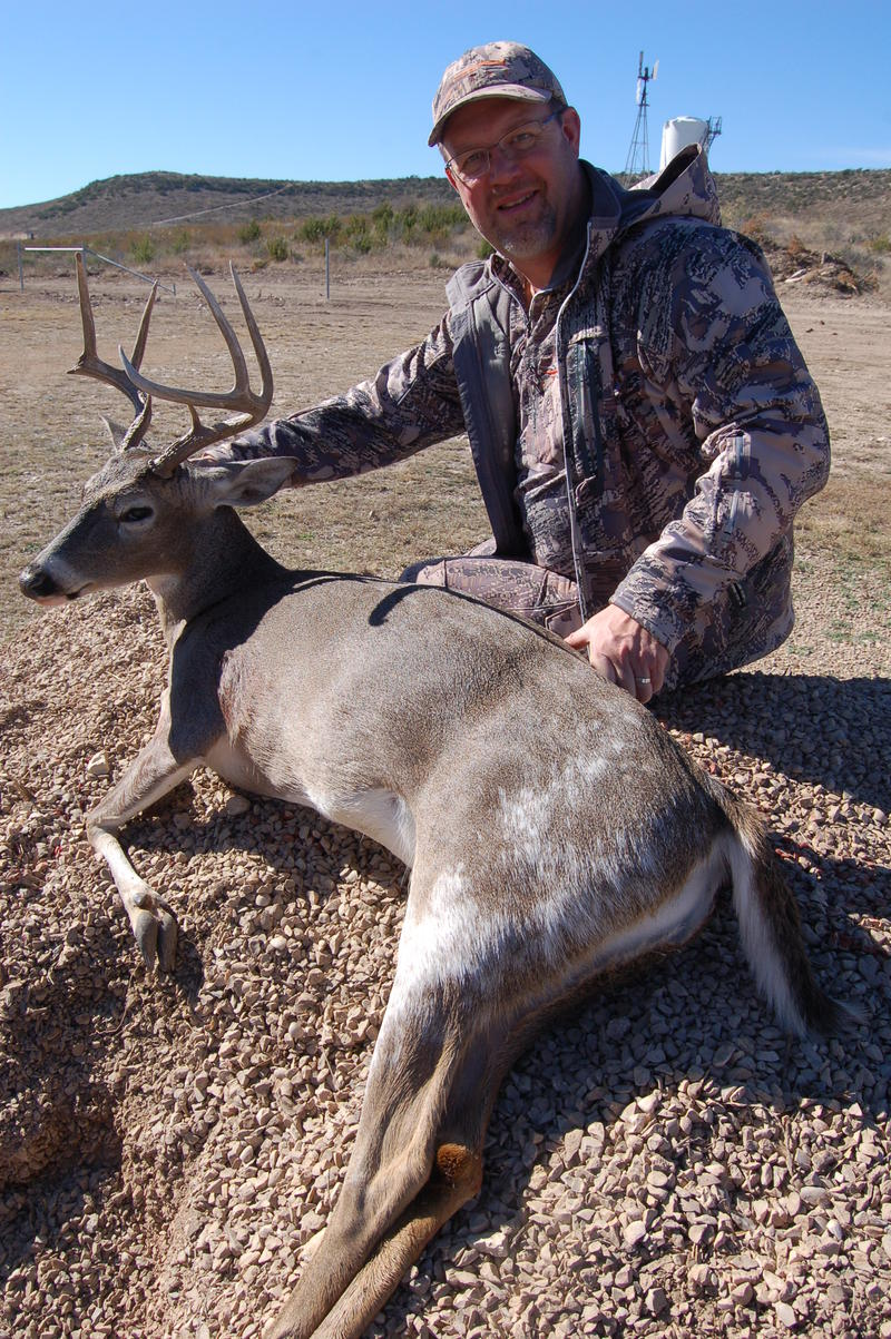 Outdoors writer Brad Fenson traveled from Alberta, Canada to hunt deer out in West Texas with Steven Ray and Luke. During the hunt, he harvested this unique piebald buck.