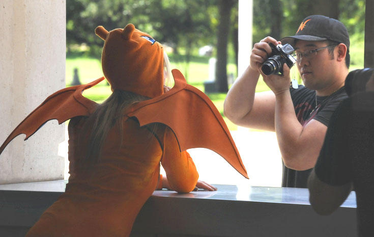 A cosplayer doing a photo shoot