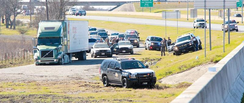 A low-speed chase involving a stolen 18-wheeler begain in Kaufman County and ended in Greenville on Wednesday.