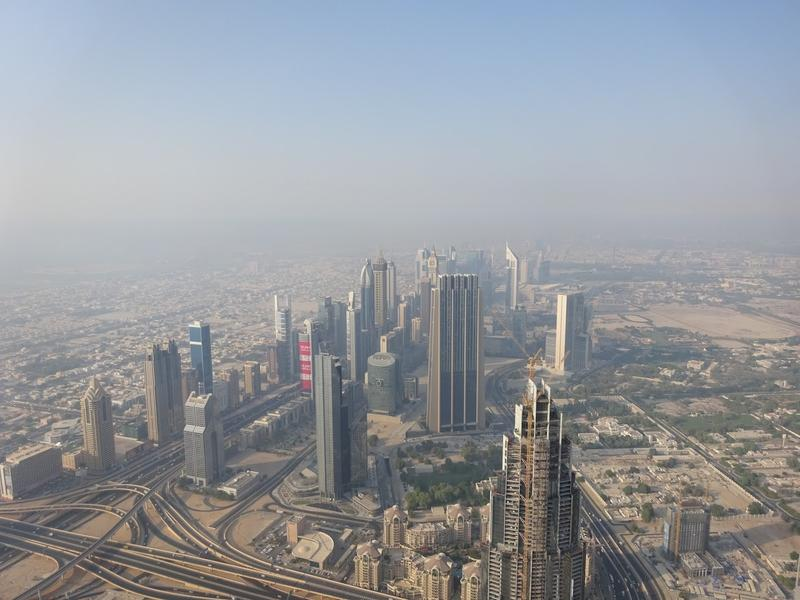 View from atop the Burj Khalifa in Dubai, the tallest artifical structure in the world since 2009.