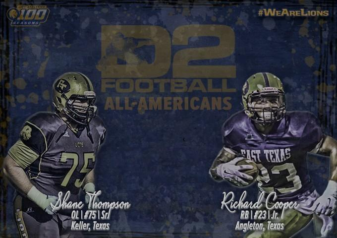 Lion running back Richard Cooper and offensive lineman Shane Thompson picked up All-American honors from D2Football.com as announced by the organization Thursday.