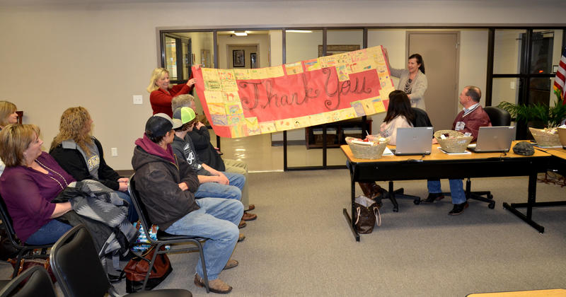 The Board was recognized by the staff and students with many gifts like this banner created by Cooper Elementary.