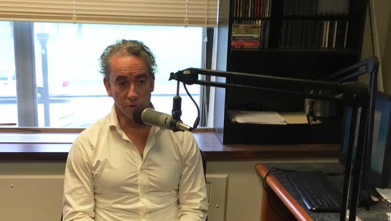 Dr. Frederick Luis Aldama at KETR on the campus of Texas A&M University-Commerce.
