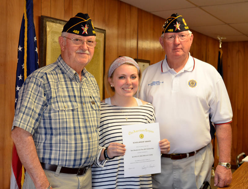American Legion Red Henderson Post 483 recently announced the winner of their annual scholarship as Katelyn Cook. Post Vice Commander Butch Burns (left) read aloud her essay at the meeting last Tuesday while Post Commander Gary Thompson (right) presented