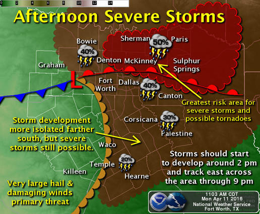 The area at highest risk is north and east of a Denton-Plano-Terrell-Canton line, the National Weather Service said.