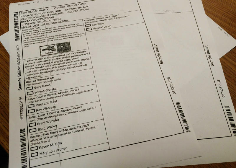 A sample ballot provided by the Delta County Clerk's office for the May 24, 2016 election.