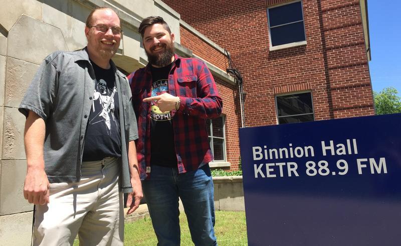 Matt Meinke (left) and Cole Risner outside Binnion Hall at A&M-Commerce.