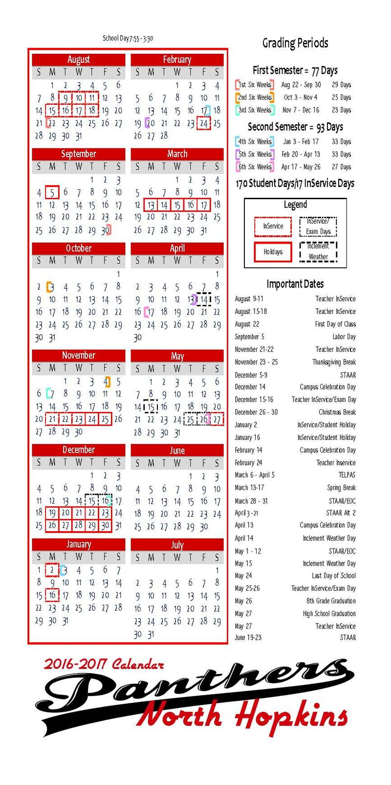 North Hopkins ISD releases upcoming school calendar.