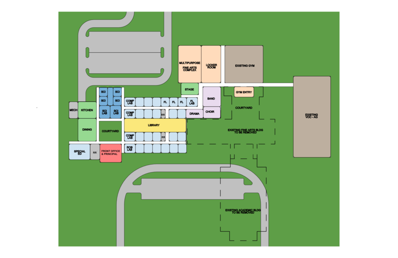 The new Bonham High School campus is set to be built next to the existing one.