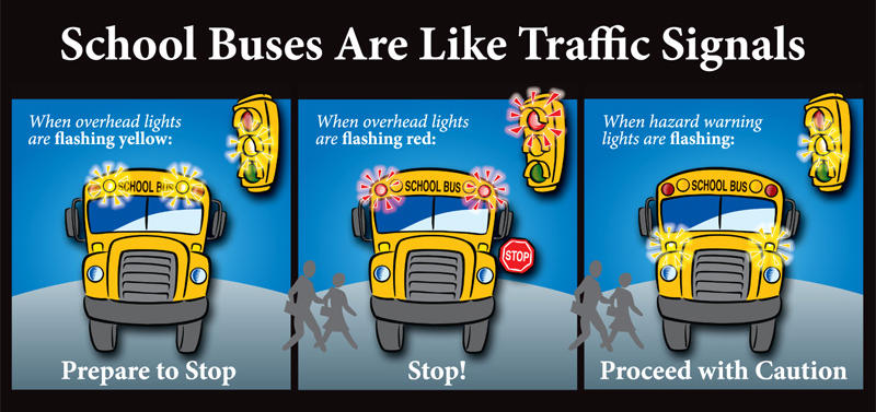 Drivers are reminded of warning lights on school buses.