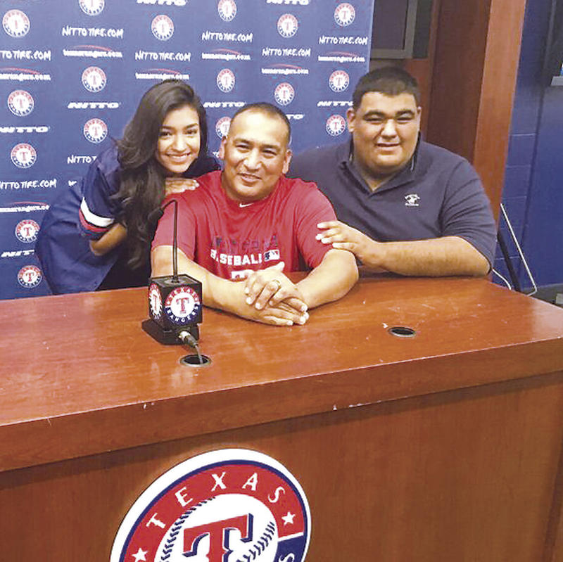 First Sgt. Guillermo Rivas at Globe Life Park on May 28.