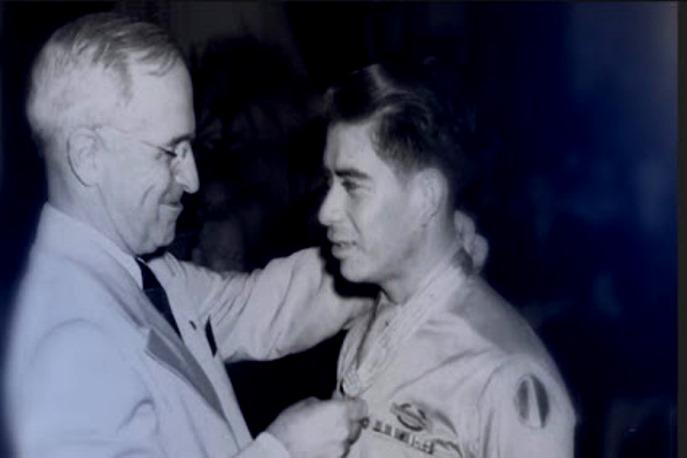 Marcario Garcia, right, was awarded the Congressional Medal of Honor by President Harry Truman.