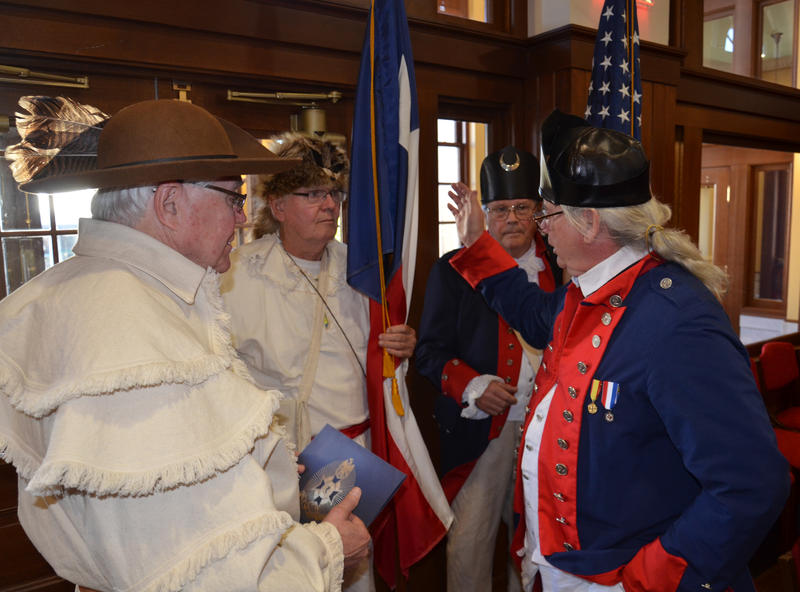 Four representatives of the East Fork Trinity Chapter 47 of the Sons of the American Revolution gave the City a flag certificate.