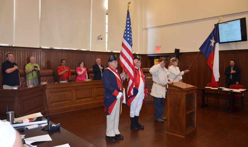 Sons of the American Revolution (East Fork Trinity Chapter 47) presented the colors for the Council meeting.