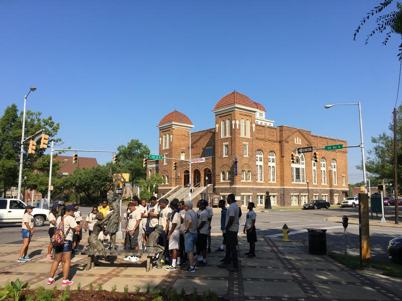 A&M-Commerce students in Birmingham. The historic 16th Street Baptist Church is in the background.