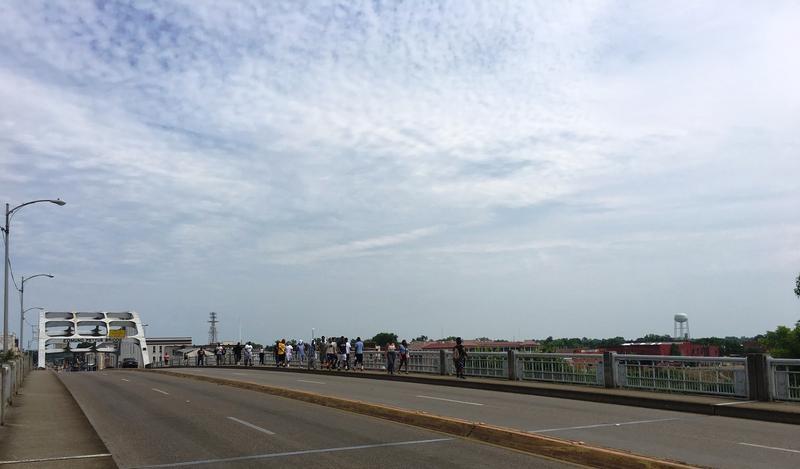 A&M-Commerce students cross the Edmund Pettus Bridge in Selma.