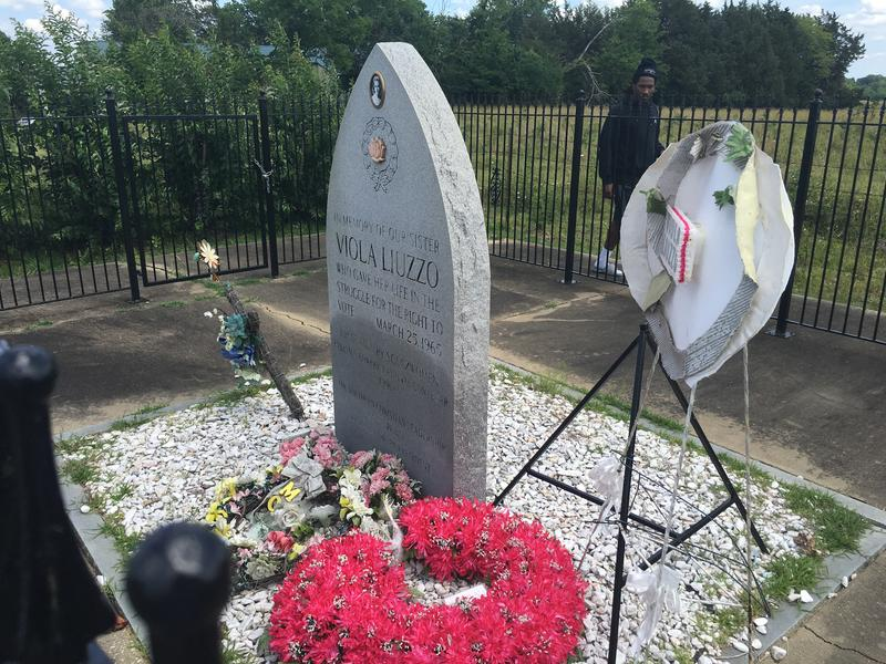Jeremiah Walters pauses at the memorial for slain civil rights worker Viola Liuzzo.