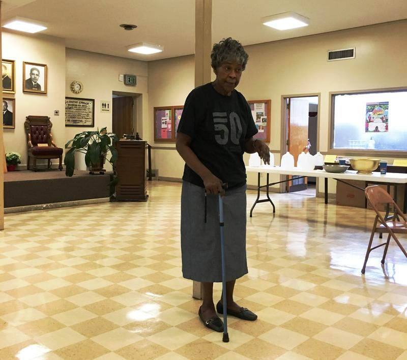 Longtime civil rights activist Myrna Jackson addresses A&M-Commerce students in the basement of 16th Street Baptist Church.