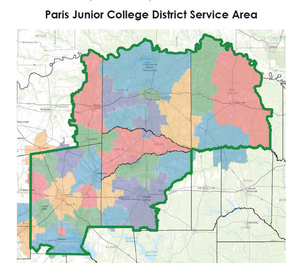 Paris Junior College's service area includes all or part of six Texas counties.