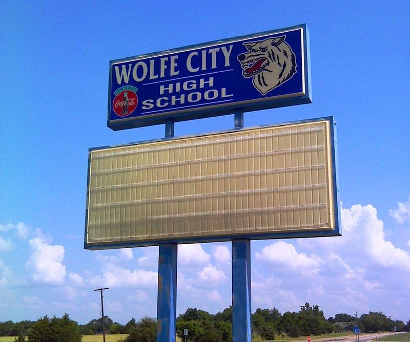 Wolfe City High School sign